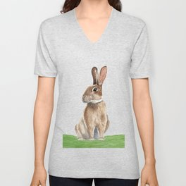 Rabbit in Grass Watercolor Unisex V-Neck