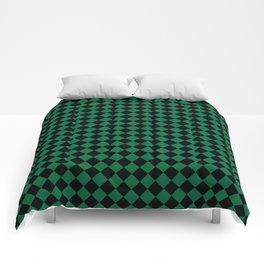 Black and Cadmium Green Diamonds Comforters