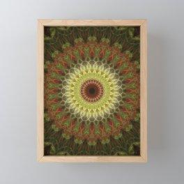 Brown and yellow mandala Framed Mini Art Print