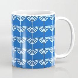Hanukkah Chanukah Menorah Chanukkiah Pattern in White and Bright Blue Coffee Mug