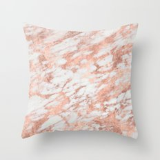 Marble - Pink Rose Gold Marble White Metallic iPhone Case and Throw Pillow Design Throw Pillow