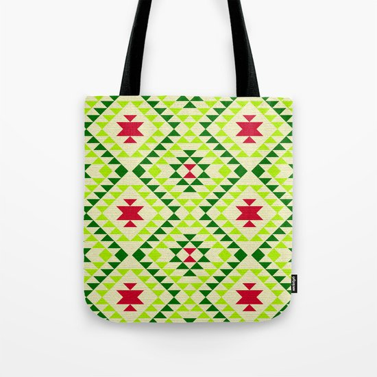 Tribal geometric pattern - green Tote Bag