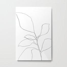 Six Leaf Plant - Minimalist Botanical Line Drawing Metal Print