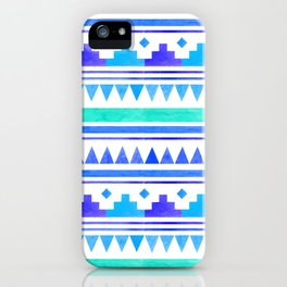 Seamless watercolor geometric pattern in native american style. Boho design iPhone Case