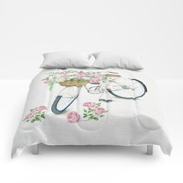 Vintage White Bicycle with English Roses on Paper Background Comforters