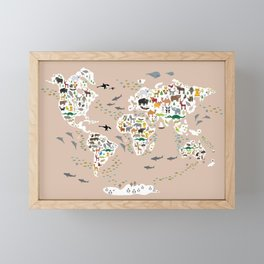 Cartoon animal world map, back to schhool. Animals from all over the world rosybrown background Framed Mini Art Print