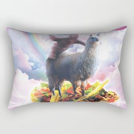 Space Sloth Riding Llama Unicorn - Taco & Donut Rectangular Pillow