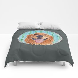 You're Never Fully Dressed without a Smile, Golden Retriever, Whimsical Watercolor Painting, Grey Comforters