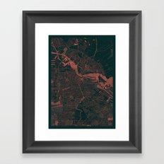 Amsterdam Map Red Framed Art Print