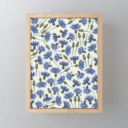 Vintage Pressed Flowers - Blue Cornflower Framed Mini Art Print