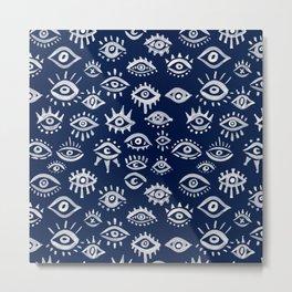 Mystic Eyes – White on Navy Metal Print