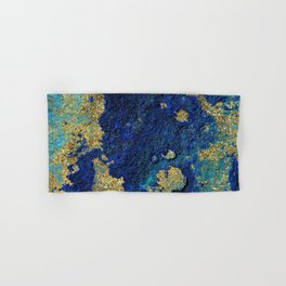 Indigo Teal and Gold Ocean Hand & Bath Towel