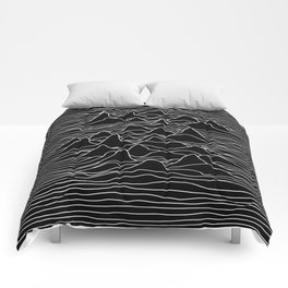 Black and white illustration - sound wave graphic Comforters