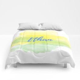 Yellow Green Watercolor Ethan Comforters