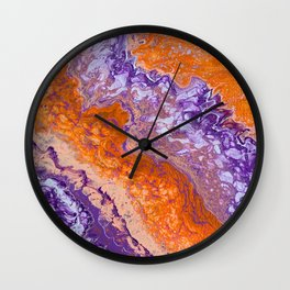 Clemson Orange and Purple Paint Pour Effect Wall Clock