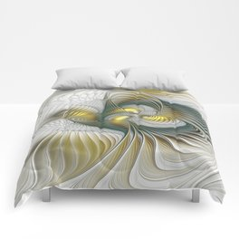 Noble And Golden, Abstract Modern Fractal Art Comforters