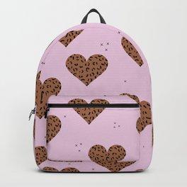 Leopard love animal print trend minimal hearts pink rust Backpack