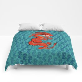 Red Dragon with Teal Comforters