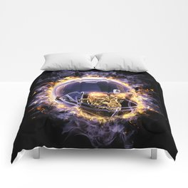 fire football helmet with fire eyes skull on a black background Comforters