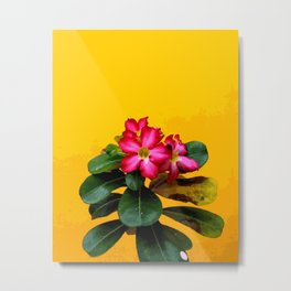 Red Flower with yellow background #society6 Metal Print