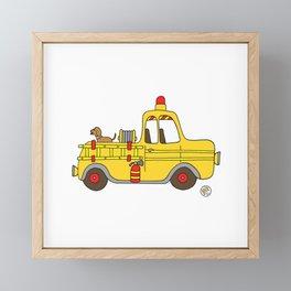 Firetruck Yellow Vintage Fire Truck Framed Mini Art Print