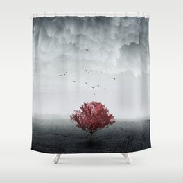 the RED tree ll Shower Curtain