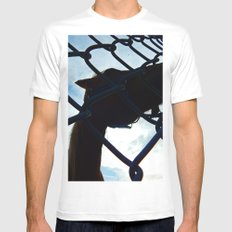 Horse at the Fence MEDIUM White Mens Fitted Tee