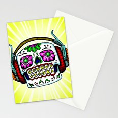 Sugar Skull with Headphones Zombie by RonkyTonk Stationery Cards