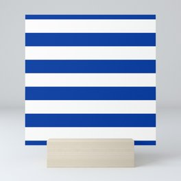 Dark Princess Blue and White Wide Horizontal Cabana Tent Stripe Mini Art Print