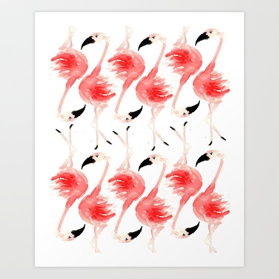 Flamingos! Art Print