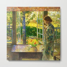 Classical Masterpiece 'The Goldfish Window' by Frederick Childe Hassam Metal Print