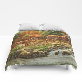 Whitetil Deer Doe & Buck by Waterfall Comforters