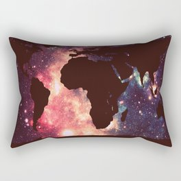 World Map : Mauve Teal Galaxy Stars Rectangular Pillow