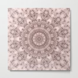 Pink marble kaleidoscope, ornament elements print Metal Print