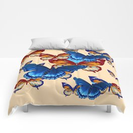 #2 MODERN ART DECORATIVE BLUE-BROWN  BUTTERFLIES Comforters
