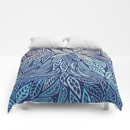 Polynesian Tribal Tattoo Shades Of Blue Floral Design Comforters