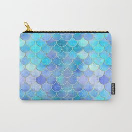 Aqua Pearlescent & Gold Mermaid Scale Pattern Carry-All Pouch