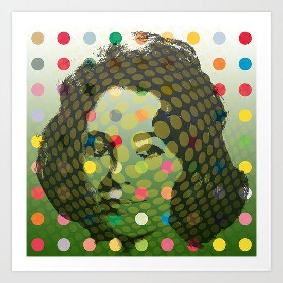 Op Art Liz Taylor With Multi-coloured Dots #2 Art Print