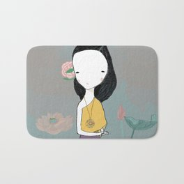 Girl with water lilies Bath Mat