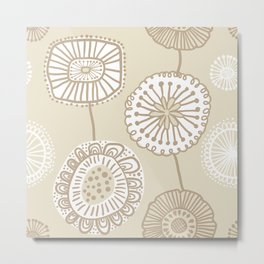 Folksy Floral in Tan Metal Print