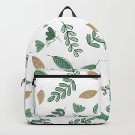 Elegant Forest Green Gold Glitter Greenery Foliage Backpack