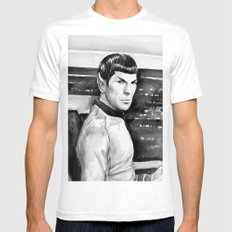 Spock Leonard Nimoy Portrait Sci-fi Geek Painting Mens Fitted Tee White LARGE