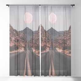 Road Red Moon Sheer Curtain