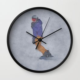 Sliding into Home - Winter Snowboarder Wall Clock