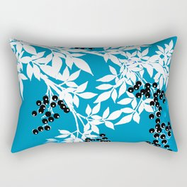 TREE BRANCHES BLUE AND WHITE WITH BLACK BERRIES TOILE Rectangular Pillow