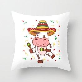 "Mexican themed Top Garment Apparel ""Cow Farm Grill Meat BBQ Brisket"" T-shirt Design Mexico Throw Pillow"
