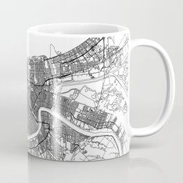 New Orleans White Map Coffee Mug