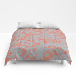 Floral Silhouette Pattern - Broken but Flourishing in Coral Comforters