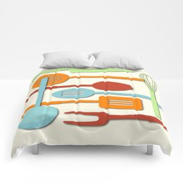 Kitchen Colored Utensil Silhouettes on Cream III Comforters