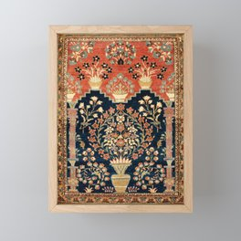 Kashan Poshti  Antique Central Persian Rug Print Framed Mini Art Print